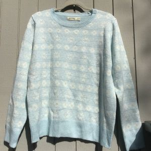 Blue & white print winter sweater